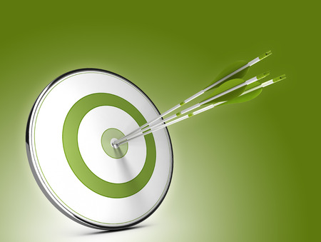 Three arrows hitting the center of a target over green background. Illustration of strategic objectives success Stock Photo