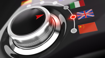 translation: Language selector button with flags. Conceptual 3D render image with depth of field blur effect. Concept suitable for translation or online translator Stock Photo