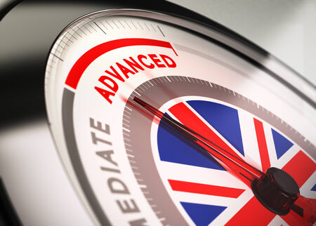 Close up of a dial with blur effect and the needle pointing the word advanced  Conceptual Illustration of English courses level  Stock Photo