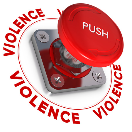 Emergency button wit the word violence around it over white background  Conceptual illustration of domestic violences  illustration