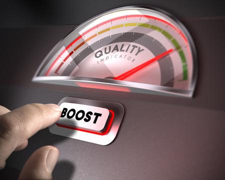 Kwaliteitsindicator wijzerplaat, index en boost-knop op een donkere achtergrond. Illustratie van TQM of QI-concept