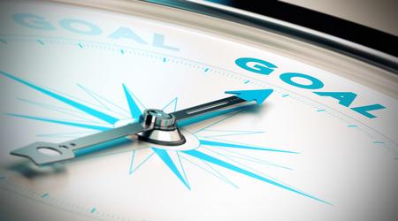 単語の目標、青色とベージュ色のトーンを指すコンパスの針。目標達成や動機、概念のイラスト。