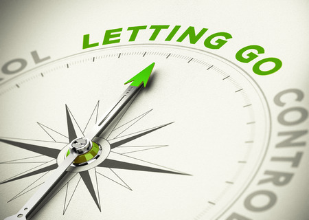 let on: Compass, needle pointing the word letting go, Green tones. Illustration of psychology concept.