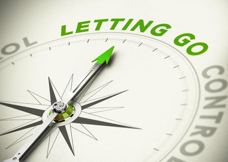 Kompas, naald naar het woord loslaten, groene tinten. Illustratie van de psychologie concept. Stockfoto