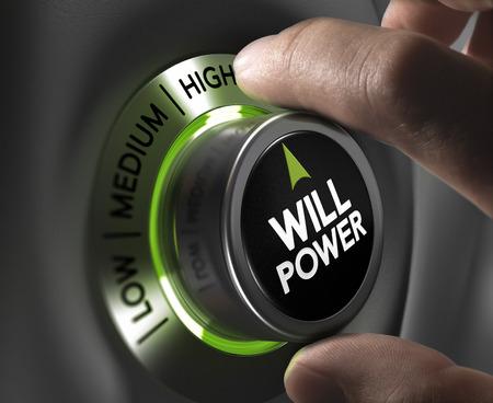 willpower: Dita girando un pulsante forza di volont� e l'impostazione sulla posizione pi� alta, toni verdi. Illustrazione di determinazione o di un concetto di motivazione.