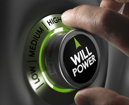 Fingers turning a willpower button and setting it on the highest position, green tones. Illustration of determination or motivation concept.
