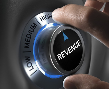 最高のポジションに収益ボタンを回って指。金融収益の概念図。