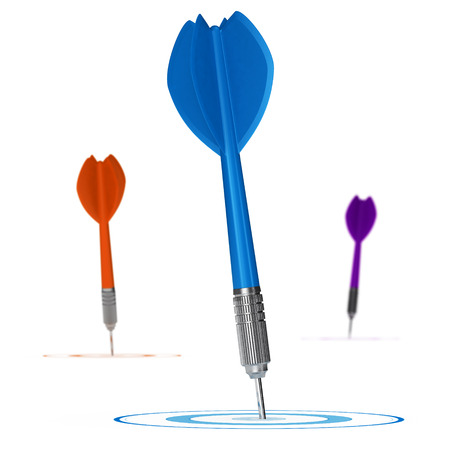 Three darts hitting the center of 3 targets, Concept illustration of advertising target  Stock Photo