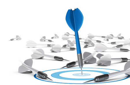 One dart hitting the center of a blue target, many grey darts on the floor symbol of failure  Concept illustration of strategic business or motivation