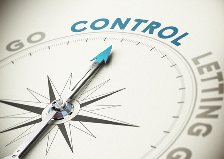 self control: Psychology concept  Compass needle pointing the word control with blue and beige tones