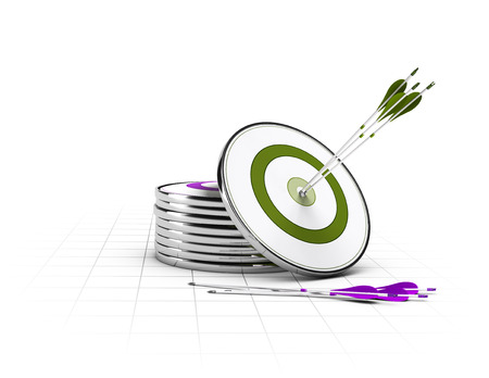 Many targets on the floor and on green target and three arrows in the center, concept of business objectives  photo