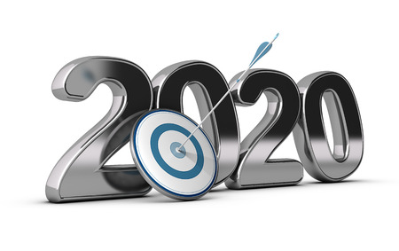 term: 2020 year, two thousand twenty wit on target and one arrow hitting the center  conceptual image over white background for illustration  of long term objectives Stock Photo
