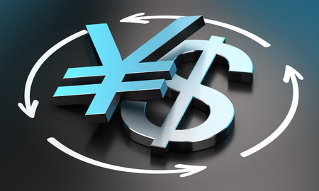 parity: US Dollar and Japanese Yen symbols over black background with circular arrows  conceptual image for illustration of exchange rate between the two currencies