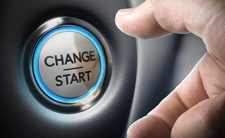business change: Change start button on a black dashboard background - Conceptual 3D render image with depth of field blur effect dedicated to motivation purpose