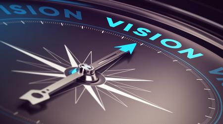 Bússola com agulha apontando a visão da palavra com efeito de desfoque mais tons de azul e preto Imagem conceitual para ilustração da empresa ou antecipação ou estratégia de negócios