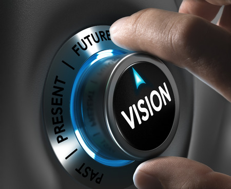 future: Button vision pointing the future with blur effect plus blue and grey tones  Conceptual image for illustration of company or business anticipation or strategy