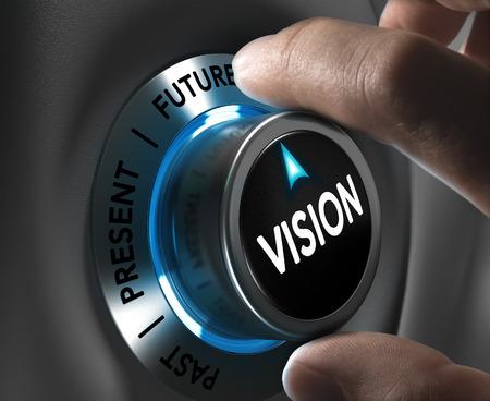 Knop visie wijst de toekomst met blur effect plus blauwe en grijze tinten Conceptueel beeld ter illustratie van bedrijf of onderneming anticipatie of strategie