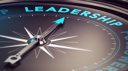 Kompas met naald naar het woord leiderschap met blur effect plus blauw en zwart tinten Conceptueel beeld ter illustratie van de leider motivatie Stockfoto