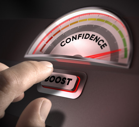 confidence indicator dial, index and boost button over a dark background  Illustration of self-confidence or esteem Stock Photo