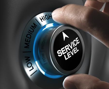 Nivel de servicio Botón señalando la posición alta, con efecto a tonos azules y grises Imagen conceptual desenfoque plus para la ilustración del desempeño de la empresa o cliente, la satisfacción Foto de archivo