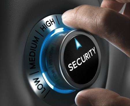control fraud: Security button pointing the highest position with two fingers, Conceptual image for risk management Stock Photo