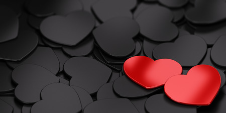 ones: Two red Heart shapes over black ones. Symbol of love. Passion card with copyspace for message.