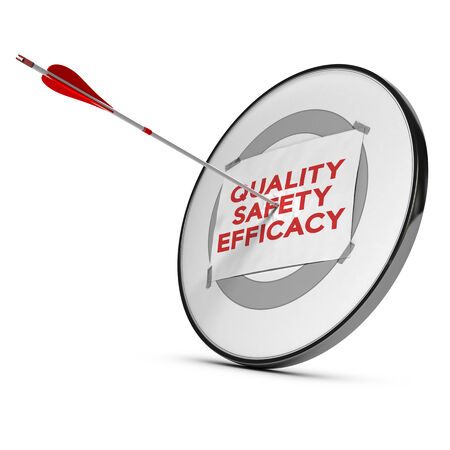 efficacy: Target with one paper fixed on it one arrow hit the center, red and white tones.  Concept image of quality, saferty and efficacy