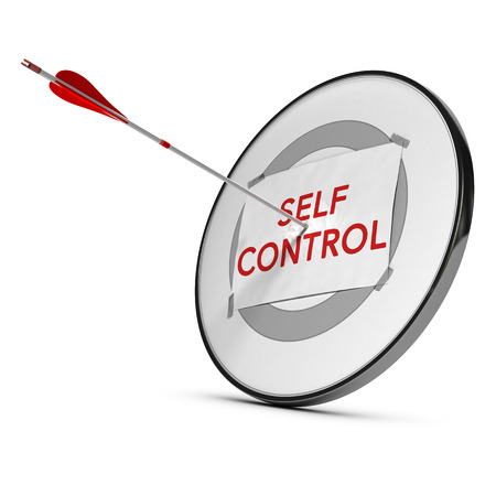 self control: Target with one paper fixed on it one arrow hit the center, red and white tones.  Concept image of self control