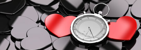 finding: Two red hearts in the middle of a crowd of black hearts, plus a stopwatch, concept image for online dating, concept image.