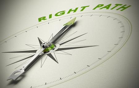 Compás con la imagen del concepto de texto camino correcto, para la buena dirección. tonos verdes y beige