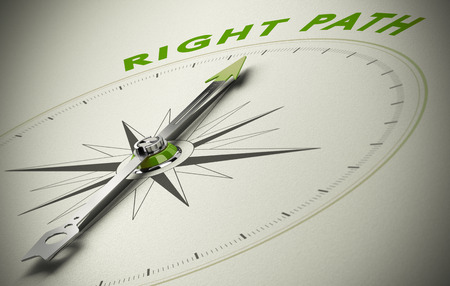 Compass with the text right path, concept image for good direction. green and beige tones Stockfoto