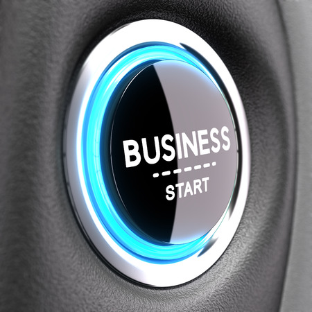 button: Blue Push button with the phrase business start. Concept image to illustrate new business   Stock Photo