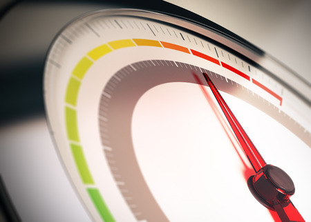 Dial with segments from green to red symbol of risk control or limit Standard-Bild