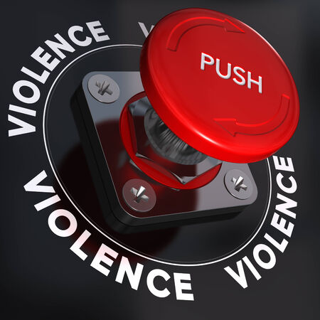 Panic button with the word violence, symbol of relationship conflicts