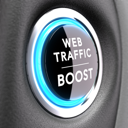 Black button with white text. Concept image to illustrate web traffic improvement or search engine optimization SEO. photo