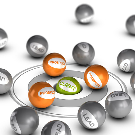Spheres with text lead, prospect and client. Concept image to illustrate lead conversion. Stock Photo