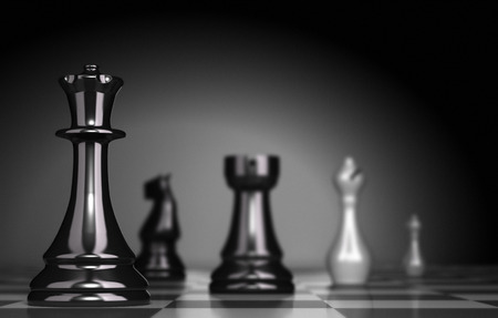 business strategy: Chess Game over black background, illustration of business strategy or positioning