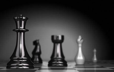 planeación estrategica: Juego de ajedrez sobre fondo negro, ilustración de la estrategia de negocio o posicionamiento Foto de archivo