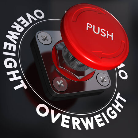 motivator: Overweight word written around a panic button, black background, Obesity concept Stock Photo