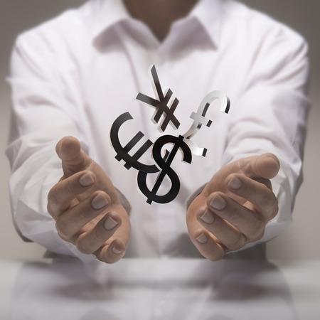 converter: Man hands holding currencies symbols. currency exchange service concept.