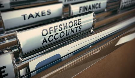 cuenta bancaria: Fichas de carpeta con el foco en la ficha cuenta en el extranjero. Empresas concepto de imagen para la ilustración de la evasión fiscal.