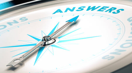 answer: Compass with needle pointing the word answer, white and blue tones. Background image for illustration of FAQ