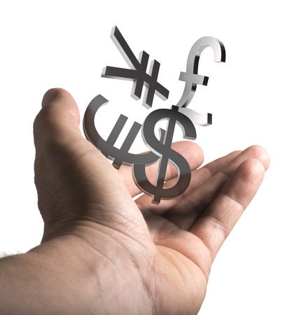 Man hand holding currencies symbols over white background, concept image for illustration of currency exchange service.