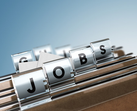 composing: Folder tabs with letters composing the word jobs, concept image for illustration of job search. Stock Photo