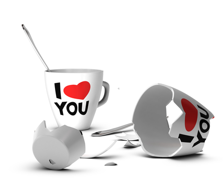 broken relationship: Broken mug with I love you printed on it symbol of domestic violence or end of love
