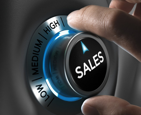 manager: Sales button pointing the highest position with two fingers, blue and grey tones, Conceptual image for sales strategyor performance