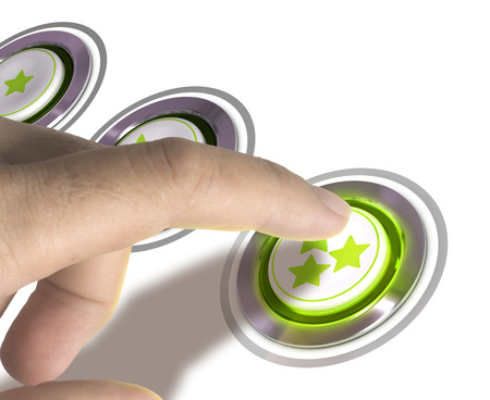 One finger pressing a three stars button over white background, image concept of rating or excellent quality. photo