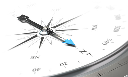 orientation: Illustration of a compass over white background, symbol of orientation, navigation and good direction.