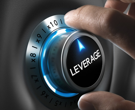 Leverage button pointing x10 position with two fingers, blue and grey tones, Conceptual image for day trading strategy. Stockfoto