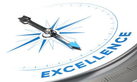 kompas: Excellence na pozadí pojetí. Compass jehlou modré slovo, dekorativní obraz vhodný pro levou spodní úhel stránky. Reklamní fotografie
